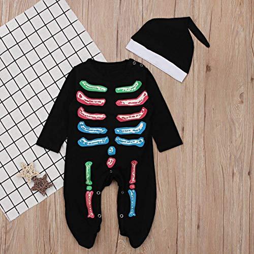 Skeleton Boy Kostüm - KIHUI Weihnachten Kinder Strampler Baby Halloween Boy Mädchen Warm Infant Cool Skeleton Langarm Overall Baumwolle Festival Kostüm