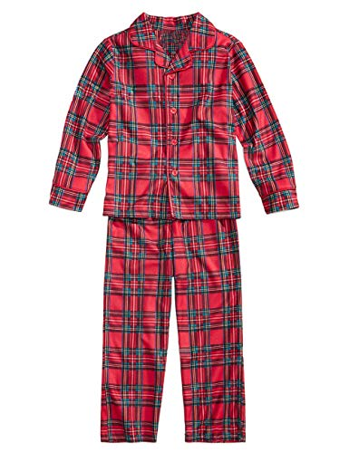mily Christmas Pyjama Set - Parent-Child Christmas Clothes Polyester Red Plaid Printing Long Sleeve T-Shirt Daddy Mom and Son Daughter Family Pajamas ()