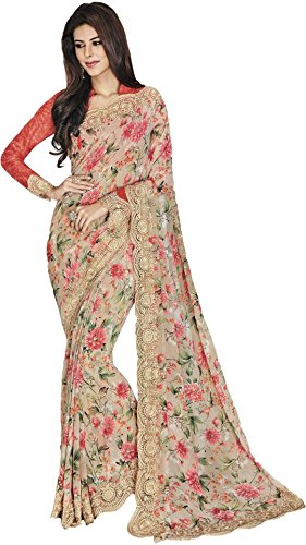 Vipul Women\'s Branded Pink Casual Wear Printed Crepe Saree (Best Gift For Mummy Mom Wife Girl Friend, Exclusive Offers and Sale Discount)