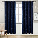 BGment Kids Blackout Curtains for Bedroom - Eyelet Thermal Insulated Silver Star Print