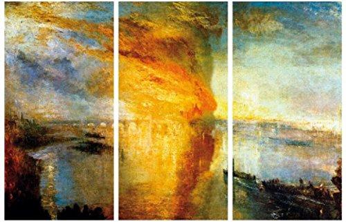 1art1 57510 Joseph William Turner - Der Brand Des Parlamentsgebäudes In London, 1835, 3-Teilig Poster Leinwandbild Auf Keilrahmen 180 x 120 cm