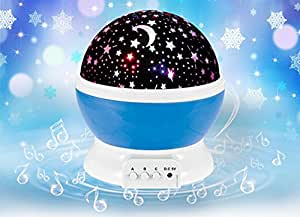 Stars Night Light Projector with Music,MightyCase USB Rechargeable 4 Modes Children Baby Kids Toys Cosmos Rotating Round LED Night Light Projector Lamp,Romantic Star Moon Sky Home Bedroom Decoration Table Lamp Blue