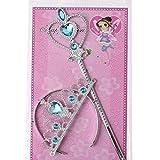 kakakooo Princesse Elsa Dress Up Party Accessoires Couronne Baguette Magique Cadeaux Set Party Favors Dress up 2PCS (Bleu)