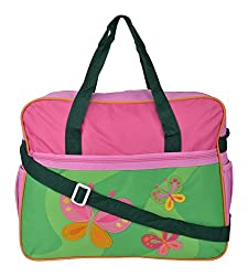 WonderKart Beautiful Design And Attractive Color Multi Purpose Premium Diaper Shoulder Bag - Pink Green