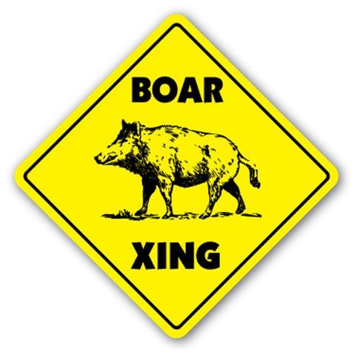 [signjoker] jabalí Crossing Sign Xing regalo Novelty Pig Hog Wild Hunter Hunt Tusk trampa matar placa de pared decoración