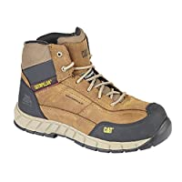 Mens CAT Leather Work Boots Non Metal Toe & Midsole Mid Ankle Boots (UK8, Dark Beige)
