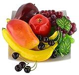 JEDFORE Mischung aus künstlichen Apfel-Banananen, Kirschen, Mango-Traube, naturgetreue Nachbildung, realistische künstliche Früchte für Zuhause, Dekoration