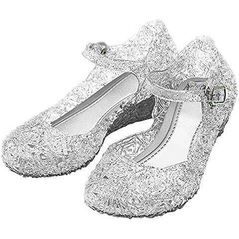 Katara - Zapatos de tacon para disfraz de princesa, Blanco, 31 (talla del fabricante 33)