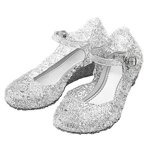 Katara ES10 Scarpe Tacco Principessa Elsa Cenerentola Bambine Costumi Carnevale Halloween EU 26 (16,2 cm) - bianco