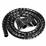 sourcingmap® 10mm Flexible Espiral Tubo Cable Cable Envolver Manejo de la computadora negro 5M w Clip