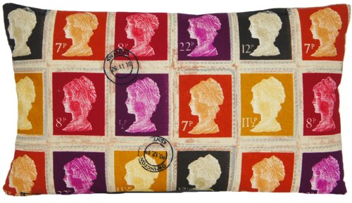 Housse de coussin rectangulaire Motif timbres rétro Coton Mûre