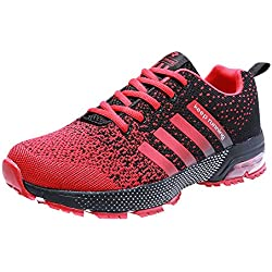 Hombre Zapatos para Correr Athletic Air Cushion 3cm Lace-up Running Sports Sneakers Negro Negro-Blanco Azul Rojo Rojo 39