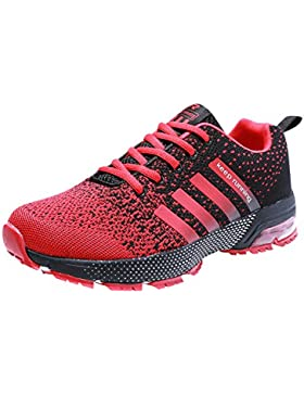 PAMRAY Herren Damen Sneaker Trekking Running Fitness Laufschuhe Air Sohle Low Top Mesh Turnschuhe 36-46 Schwarz...