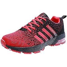 PAmRAY Herren Damen Sneaker Trekking Running Fitness Laufschuhe Air Sohle Low Top Mesh Turnschuhe 36-46 Schwarz Schwarz-Weiss Blau Rot