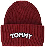 Tommy Hilfiger Damen Strickmütze Logo Patch Beanie, Rot (Tommy Red 614), One Size (Herstellergröße: OS)