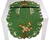 Markenlos herbstliche Tischdecke 45 x 110 cm Oval Grün Blätter Bunt Gestickt Herbst Blätterdecke (Tischläufer 45x110 cm)
