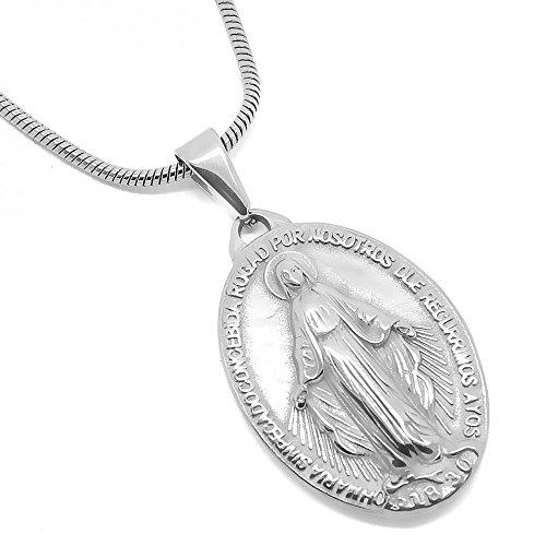 BOBIJOO Jewelry - Medalla Colgante De La Virgen María Milagrosa De Acero, De Plata De La Comunión + Cadena
