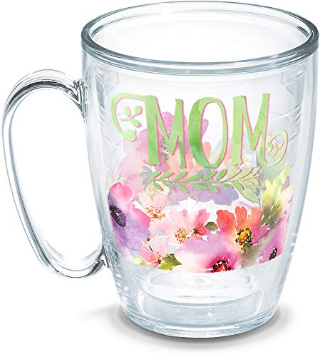 Tervis 1258402 Mom-Watercolor Floral Insulated Tumbler with Wrap, 16 oz Mug, Clear Titan Insulated Mug