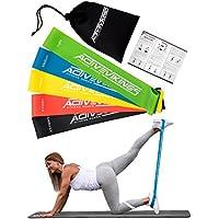 Fitnessbänder Set 5-Stärken by ActiveVikings® - Ideal für Muskelaufbau Physiotherapie Pilates Yoga Gymnastik und Crossfit   Fitnessband Gymnastikband Widerstandsbänder