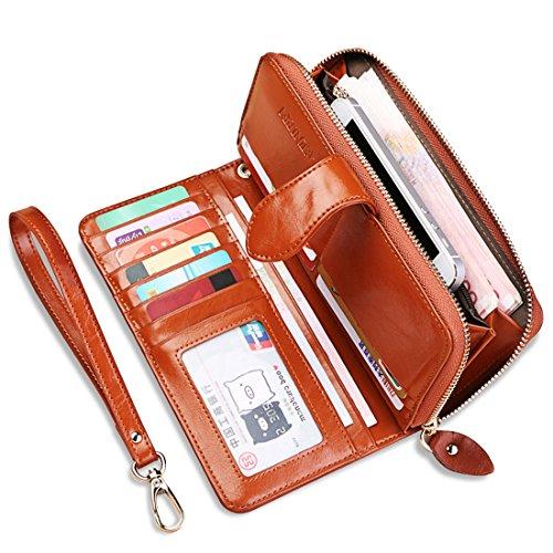 Mailo Multi-carta di posizione due pieghe cerniera portafoglio a lungo con cerniera a lungo in pelle di modo della borsa 9.5x19x4 cm (Dark Blue) marrone
