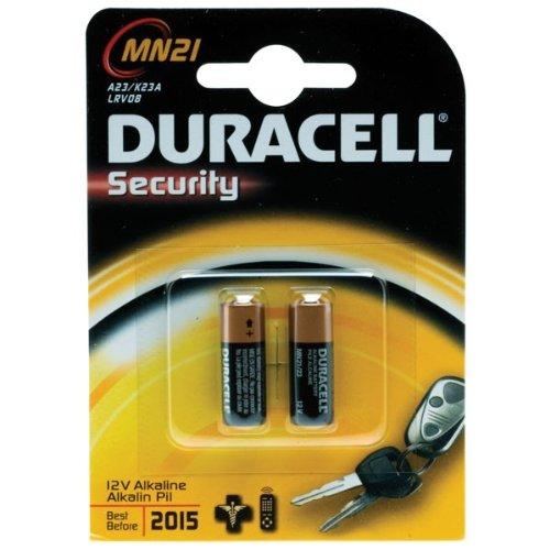 Guilty Gadgets Duracell Alkali-Mangan-Batterien für Autosicherheitsalarm und Autoschlüssel, 23 A, 23 AE, A 23, V23GA, MN21, LRV08, 12V, 2 Stück (Toyota-auto-alarm)