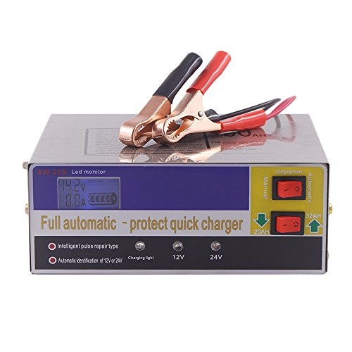 KKmoon Tipo 12V / 24V Intelligente Caricatore Automatico LED Pulse Repair Maintainer per Batteria al Litio 140W AC220V