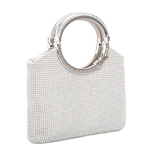 nte Handtasche Abend Taschen Party Hochzeit Eingeladen Bridal Prom Kupplung Geldbörse Silber (Silber Kupplung Geldbörse)