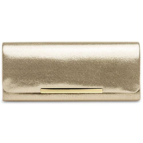 CASPAR TA346 Damen elegante Clutch Tasche / Abendtasche, Farbe:gold;Größe:One Size