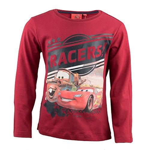 Verziert Long Sleeve Jersey-t-shirt (Disney Cars Kinder Langarmshirt Aus 100% Jersey Baumwolle, Rennwagen Lightning McQueen Langarm T-Shirt für Jungen - Shirt Farbe: Rot, Gr. 116)