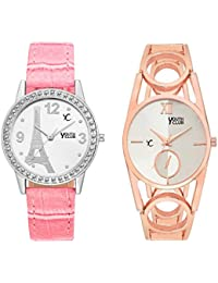 Youth Club NEW SMART PAIR White Dial Analog Watch For Girls-COMBO-PRSPNKDKCPR