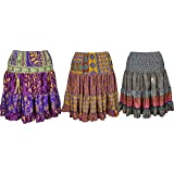 Boho Chic Designs Womens Margot Silk Skirt Full Flare Recycled Sari Tiered Knee Length Skirts Lot Of 3 Set