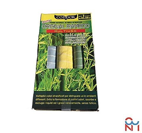 Lots de 3 Chiffons originaux en bambou–Nettoyant, dégraissant, polissage