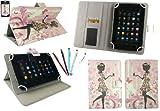 emartbuy Packung mit 5 Doppelfunktion Eingabestift +Universalbereich Blumenmädchen Folio Wallet Tasche Etui Hülle Cover mit Kartensteckplätze Geeignet für I.onik TP - 1200QC 7.85 Inch Tablet