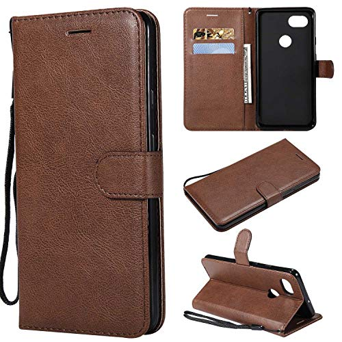 BoxTii Google Pixel 2XL Case, Flip Wallet Case PU Leather Cover with [Hand Strap] [Card Slots] [Free Tempered Glass Screen Protector] for Google Pixel 2XL (Brown)