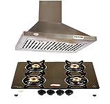 4 Burner Glass Top & Kitchen Chimney 1100m3/hr & Lifetime Warranty