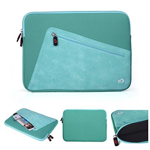 Kroo Tablet-Schutzhülle aus Neopren/Sleeve für Dell Latitude 12E5250. Vorne Reißverschluss Tasche für speicherbedarf blau Blue and Light Green