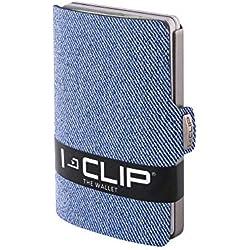 I-CLIP Aspecto Jeans Cartera Delgada Tarjetero Pequeño para Tarjetas de Crédito y Billetes (azul)