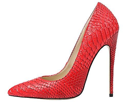 MONICOCO Übergröße Stiletto High Heels Spitze Zehen Tiermuster Geprägt Damenschuhe Pumps für Party Rot 37 EU