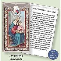 ST Saint Anne argento Foil Etched Verse preghiere e medaglia ciondolo - Foil Ciondoli