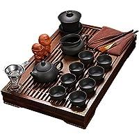 juego de té Exquisita Cerámica De Porcelana Taza De Té Del Kungfu Establecido Con Tapa Y Bandeja De Té De Madera-E