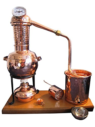 Destille 0,5 Liter Modell'Kalif' mit Aromakorb, Thermometer und Spiritusbrenner (aktuelles Modell; Premiumedition mit Spiritusbrenner, Aromakorb und zusätzlichem Destillatauffangbecher)