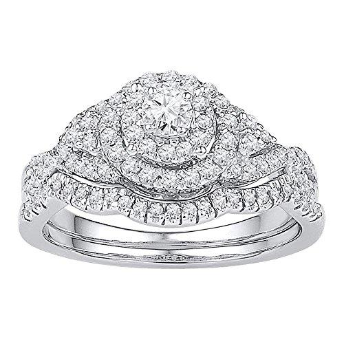 Diamond2Deal Herren Unisex Damen - 10 K 10-Karat-Weißgold Rund G-H Diamant