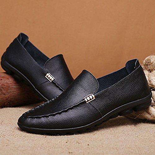 Sunny & Baby scarpe da uomo classica in vera pelle gomma morbida suola piatta casual Loafer per uomo resistente all' abrasione, blu navy, 38 EU Black