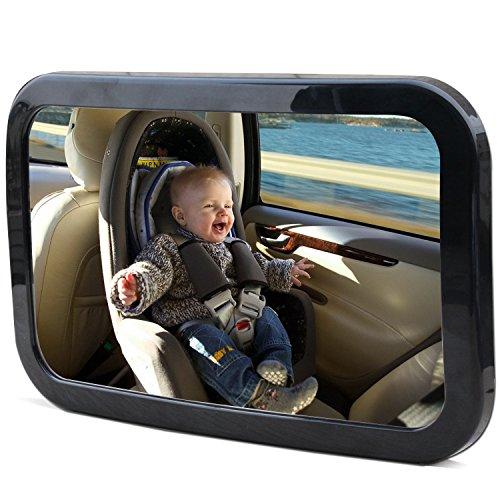 Baby Car Mirror-Kingseye 360Wide Backseat retrovisore di sicurezza del bambino specchio-si adatta a qualsiasi poggiatesta regolabile-Strong doppio cinghie-Vetro acrilico infrangibile-semplice installazione per all' indietro di fronte bambino seggiolino-proteggere il bambino
