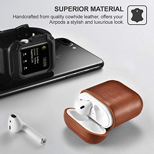 Mysail Leather Skin Fit Vintage Matte Leather Hook Case Cover Compatible with Apple Airpods Protective - Brown Image 6
