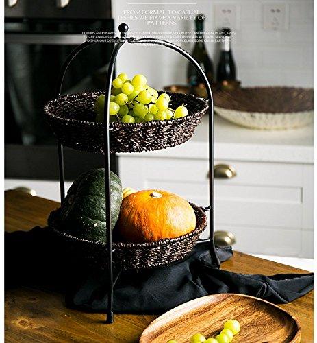 Preisvergleich Produktbild Reine Natürliche Rattan Hand Geflochtenen Korb Rack Tisch Küche Storage Rack Shuiguolan Zwei Layer Storage Shelf