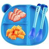 Piatto Scodella Silicone con Ventosa per Bambini Piastra per Alimenti Stoviglie Silicone + Forchetta + Cucchiaio Sensibile alla Temperatura (Blu)