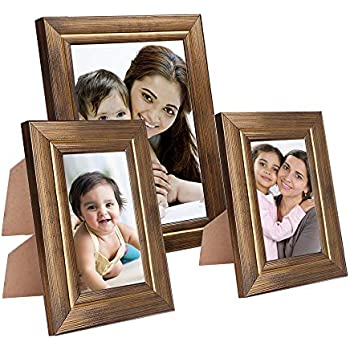 Amazon Brand - Solimo Collage Photo Frames, Set of 3, Tabletop (2 pcs - 5x7 inch, 1 pc - 8x10 inch), Golden