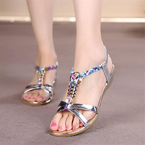 LHWY Damen Women Fashion Casual Sandalen Beach Schuhe Silver