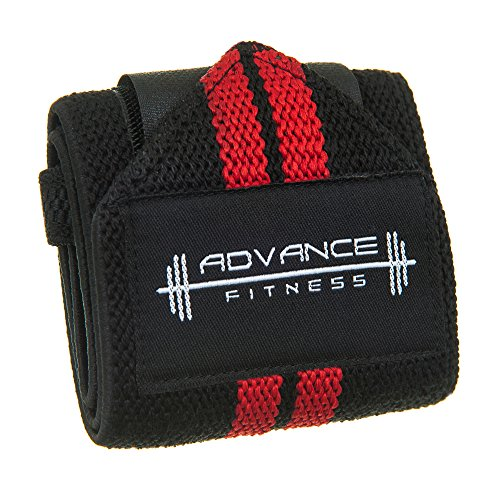 Advance-Fitness-Weight-Lifting-Wrist-Wraps-Black-Red-Mens-wrist-support-elastic-with-velcro-straps-Great-for-bodybuilding-cross-fit-power-lifting-olympic-lifting-bench-pressing-and-general-gym-trainin